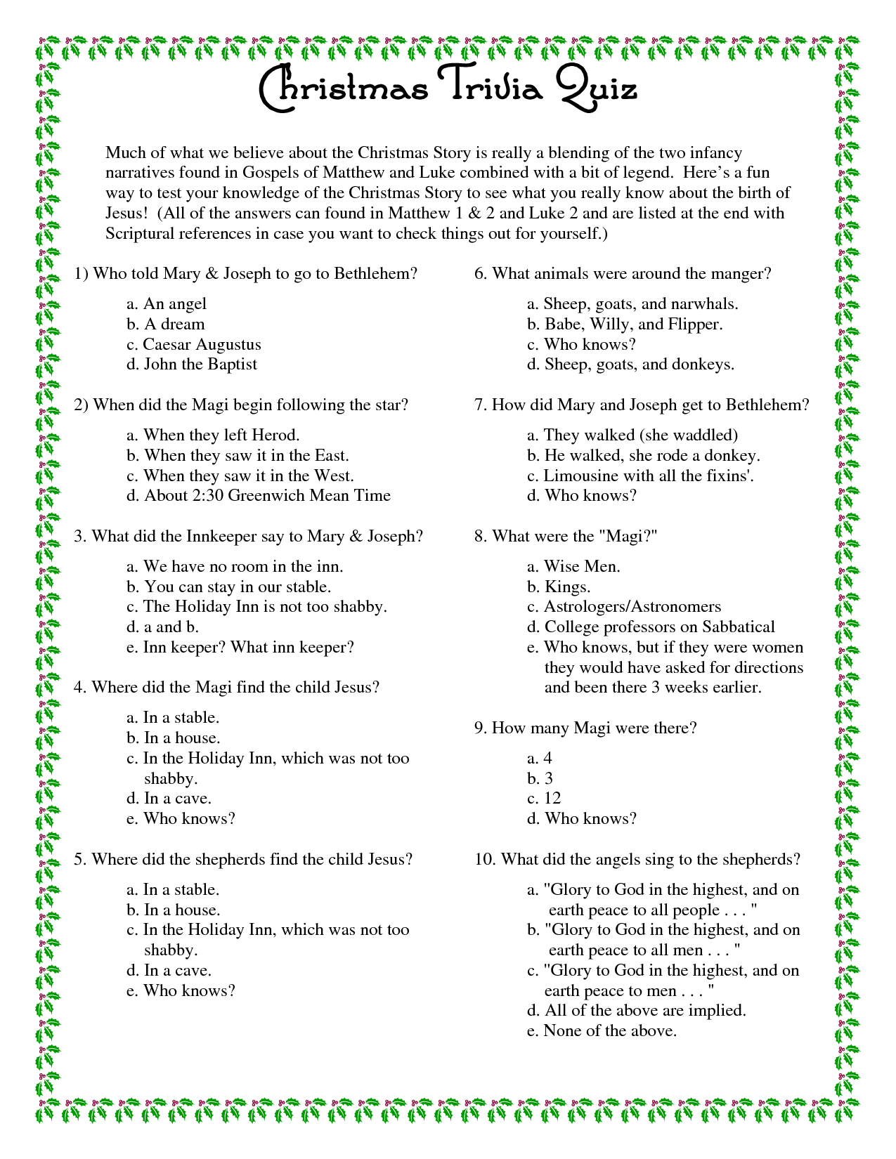 Printable+Christmas+Trivia+Questions+And+Answers | Christmas - Printable Christmas Puzzles And Quizzes