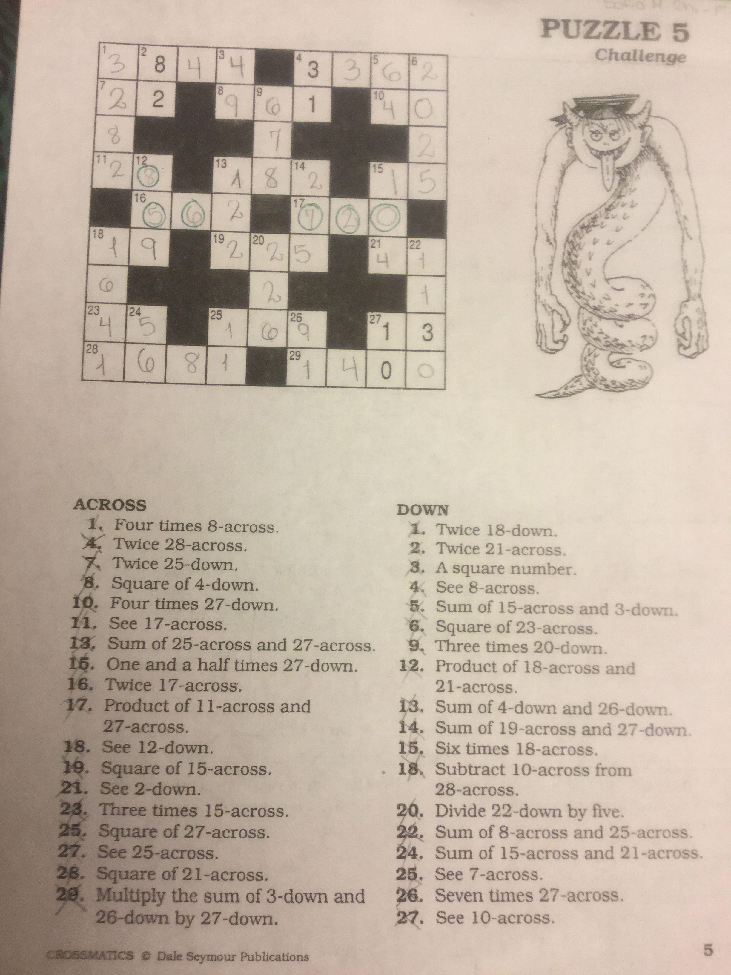 Puzzle #5 | Crossmatics ~ Dale Seymour Publications | Puzzle - Free Printable Crossword Puzzle #5