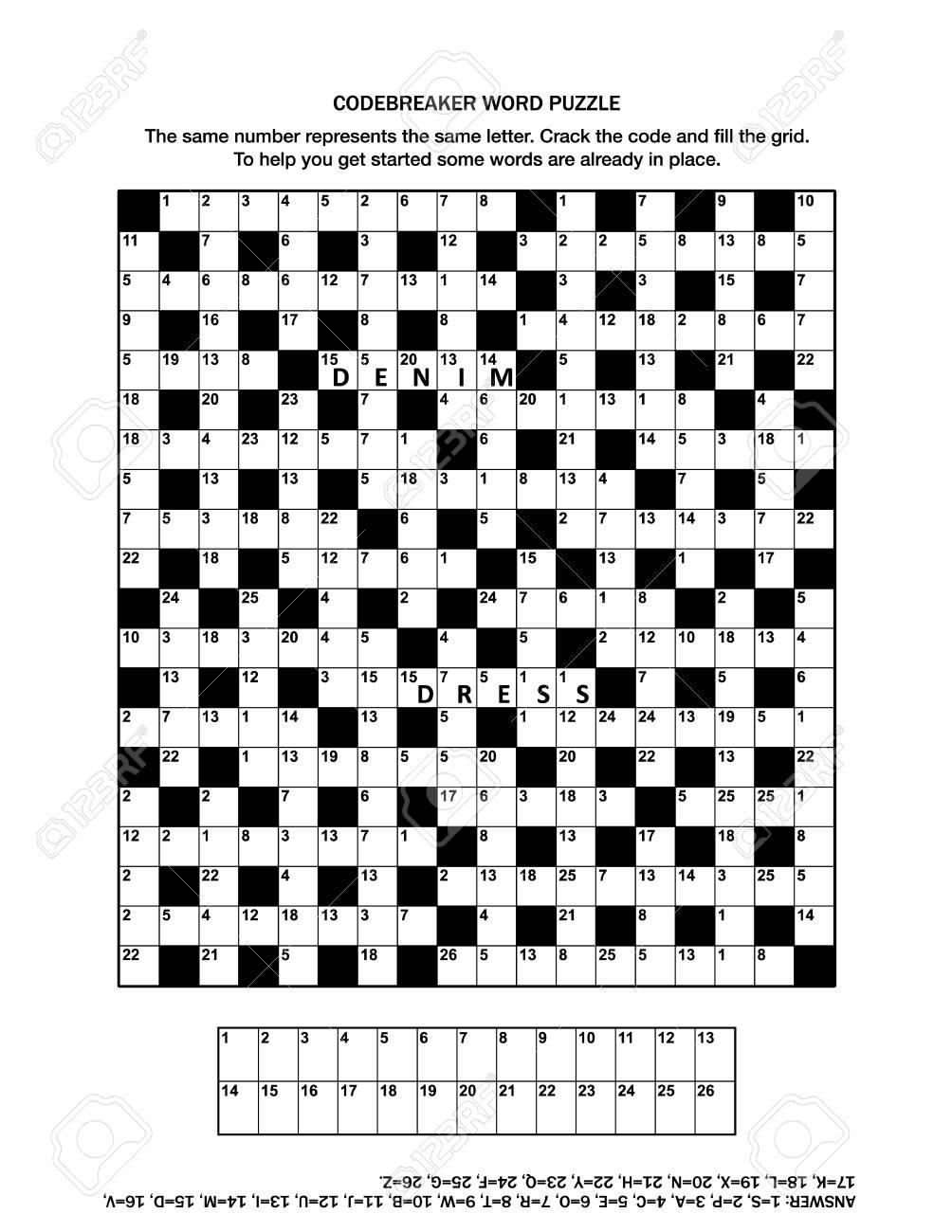 Puzzle Page With Codebreaker (Codeword, Code Cracker) Word Game - Printable Codebreaker Puzzles