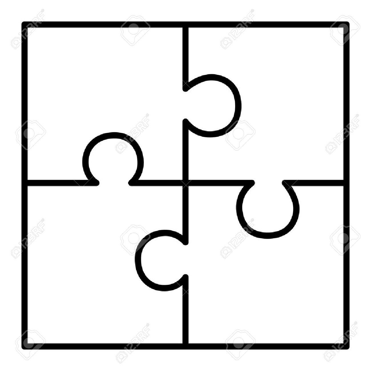 Puzzle Pieces Vector Clipart | Free Download Best Puzzle Pieces - Printable 4 Piece Puzzle Template