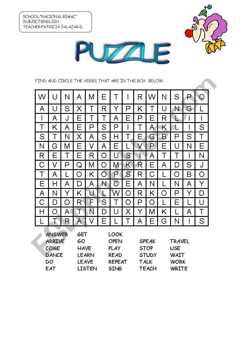 Puzzle Verbs - Esl Worksheetpatricia Elvira - Worksheet Verb Puzzle