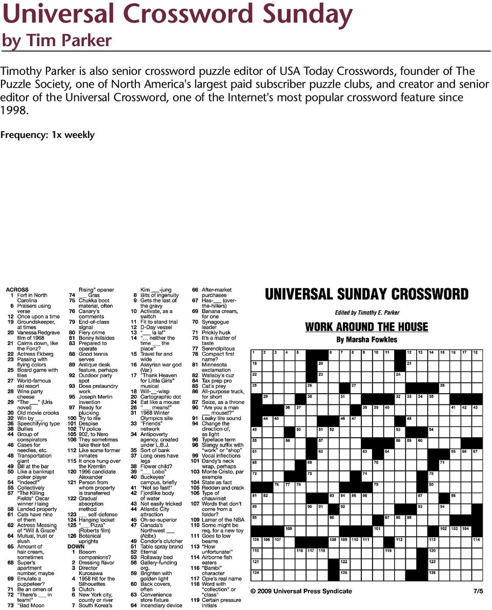 Puzzles And Games From Universal Press Syndicate - Pdf - Universal Crossword Puzzle Printable