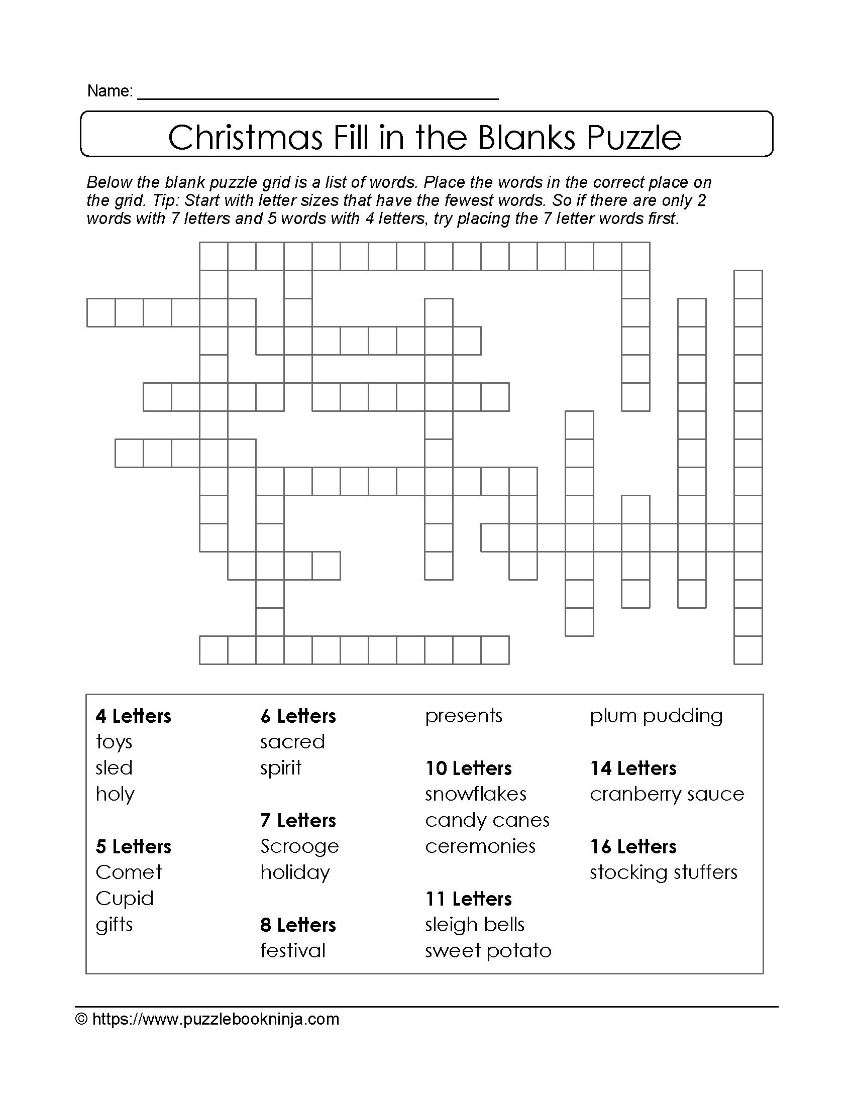 Puzzles To Print. Free Xmas Theme Fill In The Blanks Puzzle - Printable Christmas Puzzles For Adults