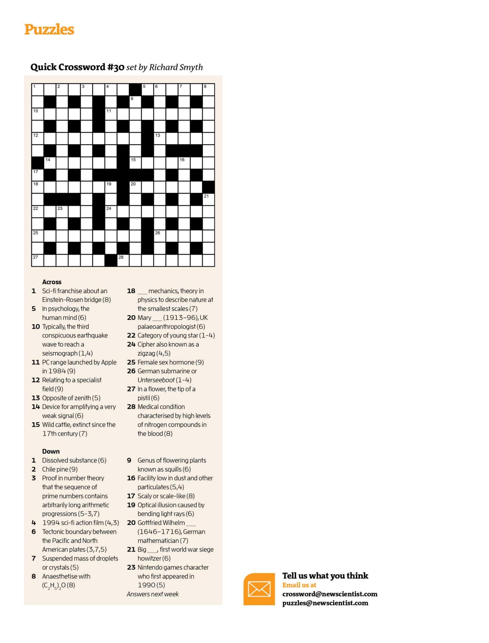 Quick Crossword #30 | New Scientist - Printable Quick Crossword