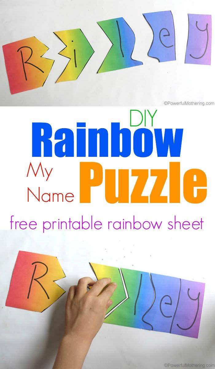 Rainbow My Name Puzzles - Printable Rainbow Puzzle
