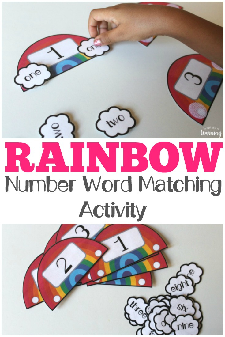 Rainbow Number Word Matching Activity For Kids - Look! We're Learning! - Printable Rainbow Number Puzzle