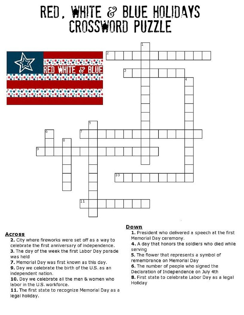 Red, White And Blue Holidays Crossword Puzzle | * Printables - Memorial Day Crossword Puzzle Printable