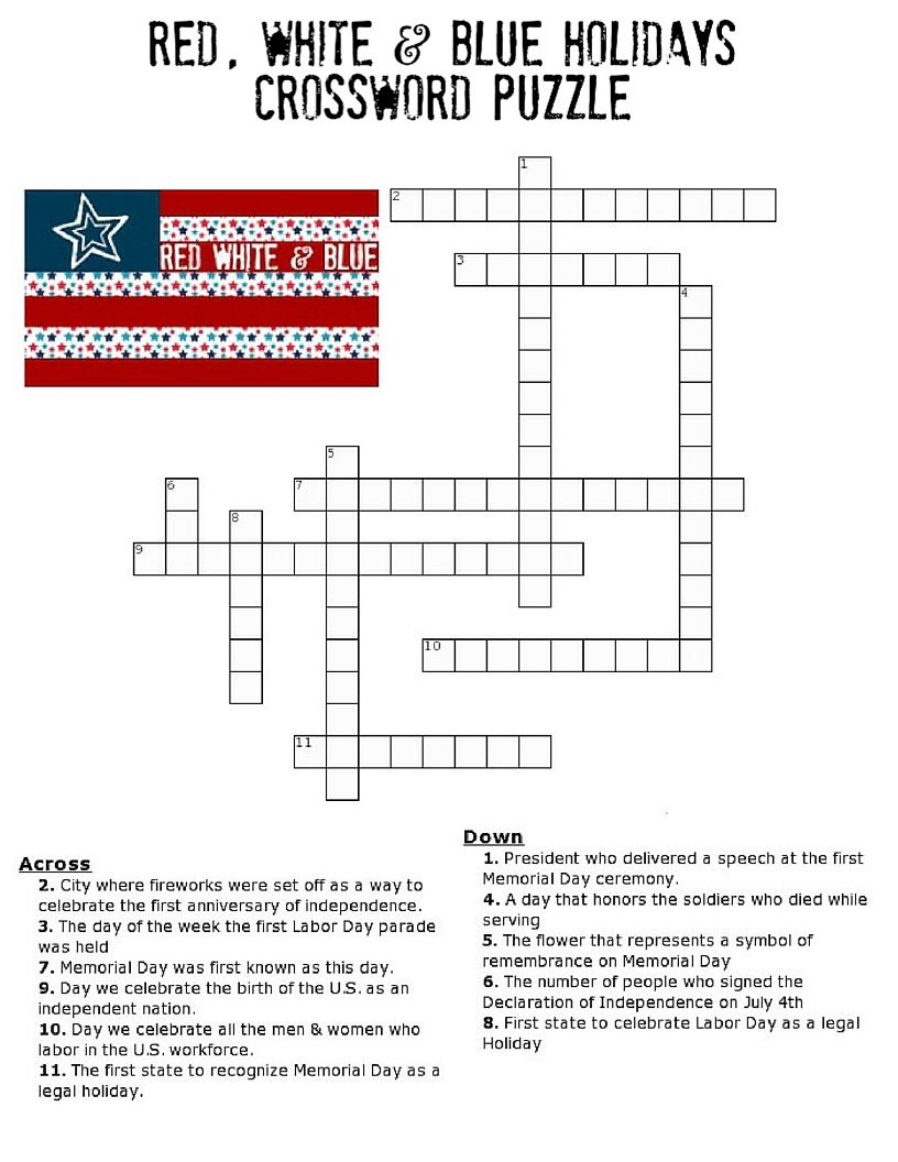 Red, White And Blue Holidays Crossword Puzzle - Three Kids And A Fish - Printable Crossword Puzzle Of The Day