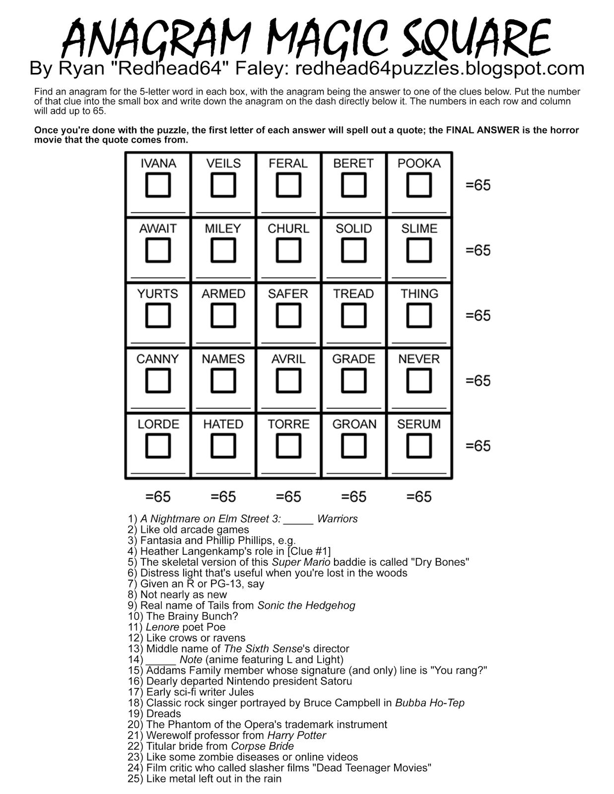 Redhead64's Obscure Puzzle Blog!: Halloween Month! Puzzle #45 - Printable Anagram Puzzles