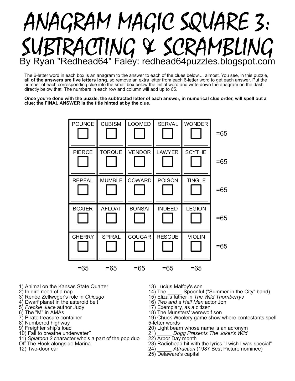 Redhead64's Obscure Puzzle Blog!: Puzzle #166: Anagram Magic Square - Printable Anagram Puzzles