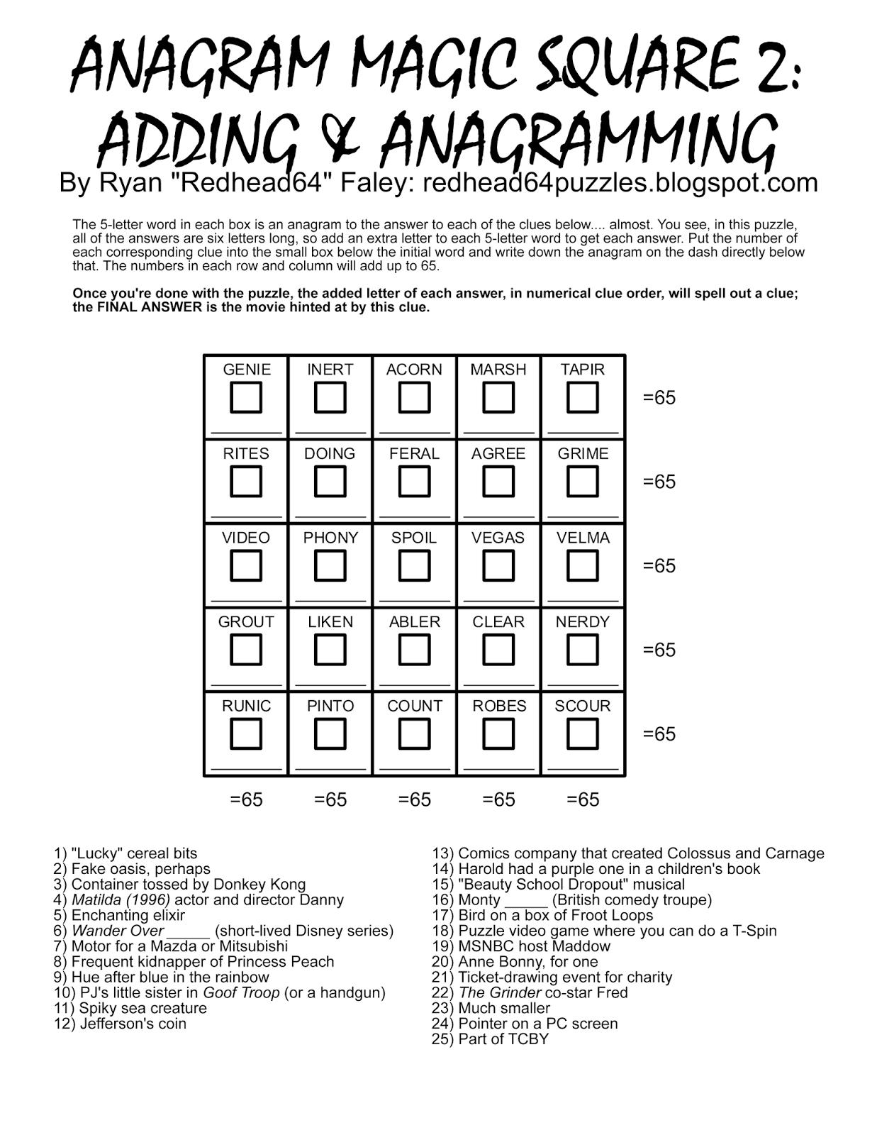 Redhead64's Obscure Puzzle Blog!: Puzzle #93: Anagram Magic Square 2 - Printable Anagram Puzzles