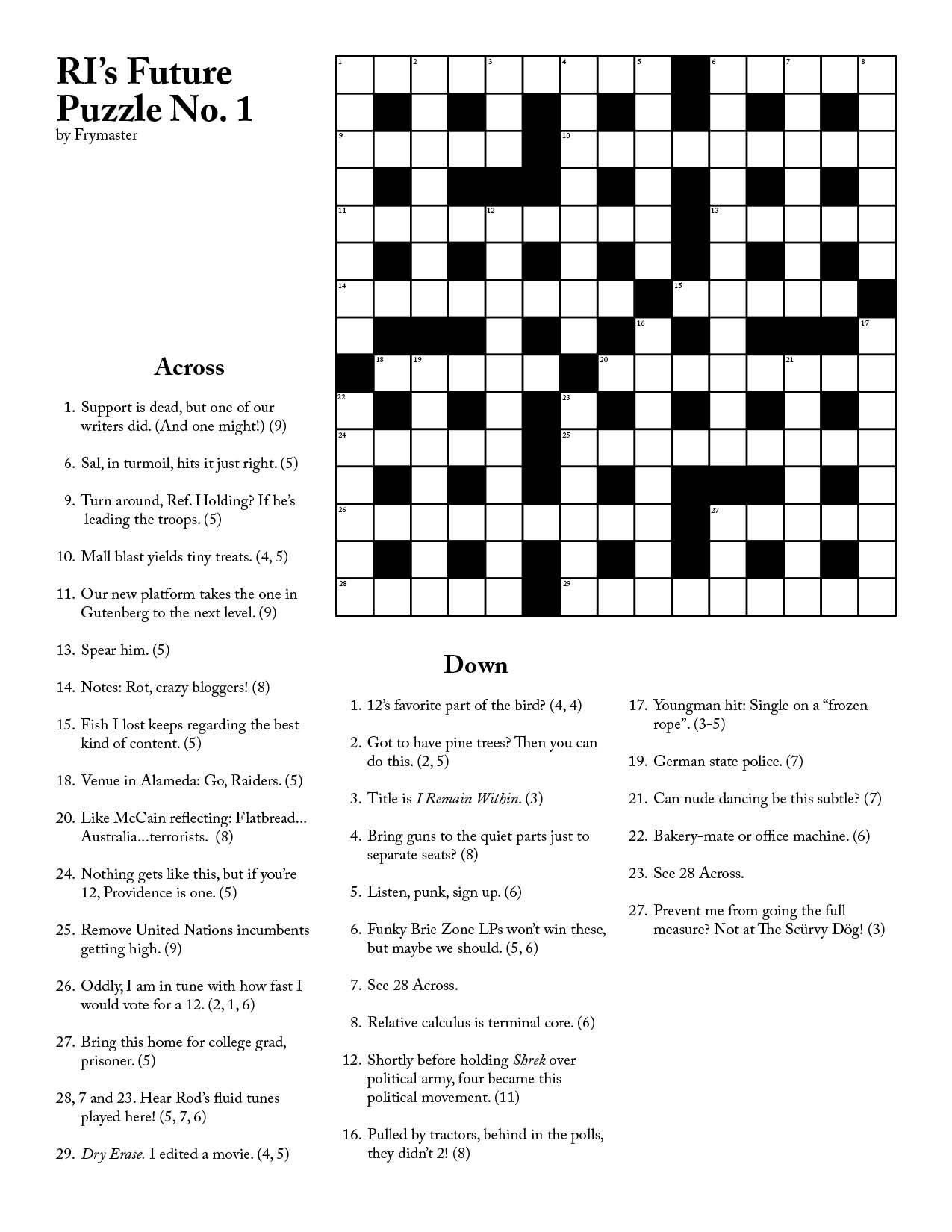 Ri Future Cryptic Crossword #1 - Printable Cryptic Crossword Puzzles