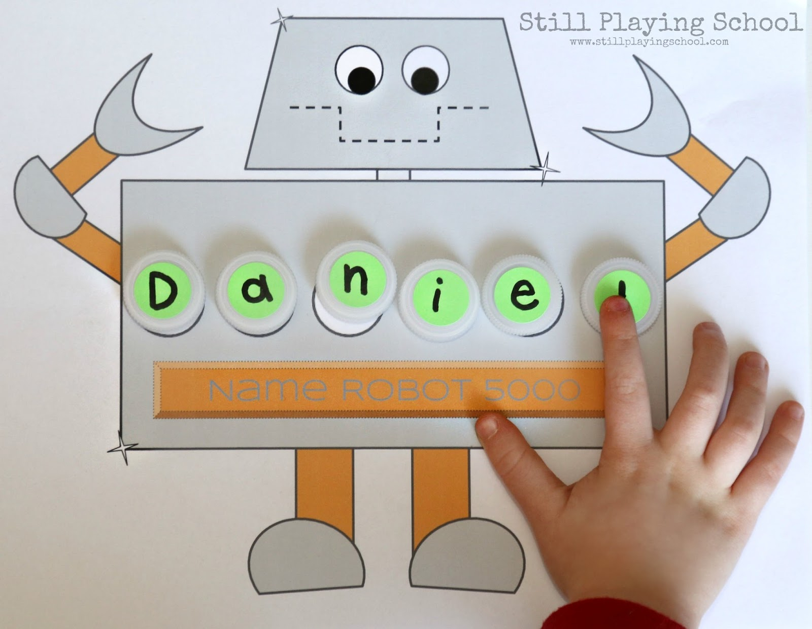 Robot Name Puzzle | Still Playing School - Printable Name Puzzles For Preschoolers