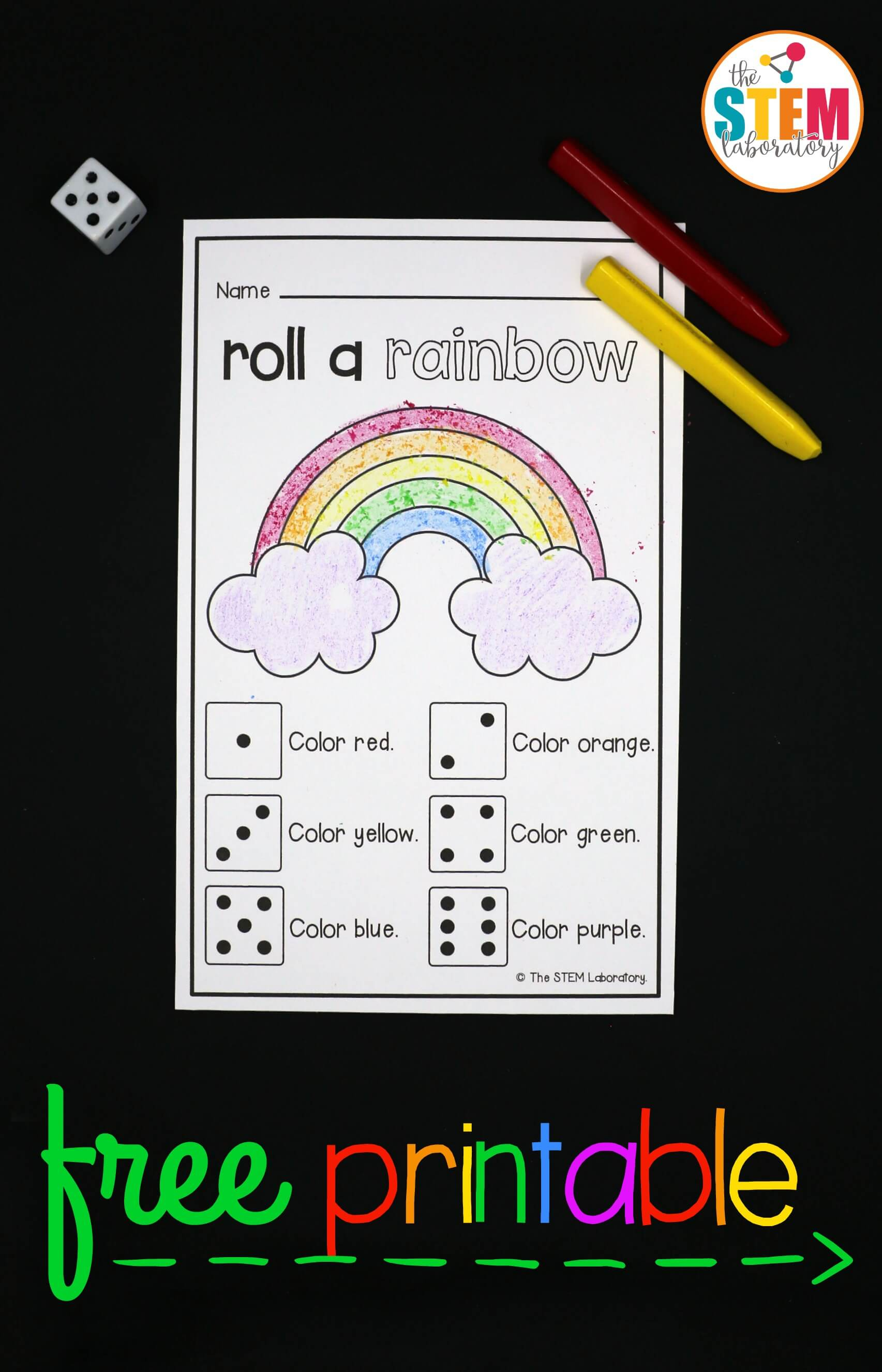 Roll A Rainbow - The Stem Laboratory - Printable Rainbow Number Puzzle