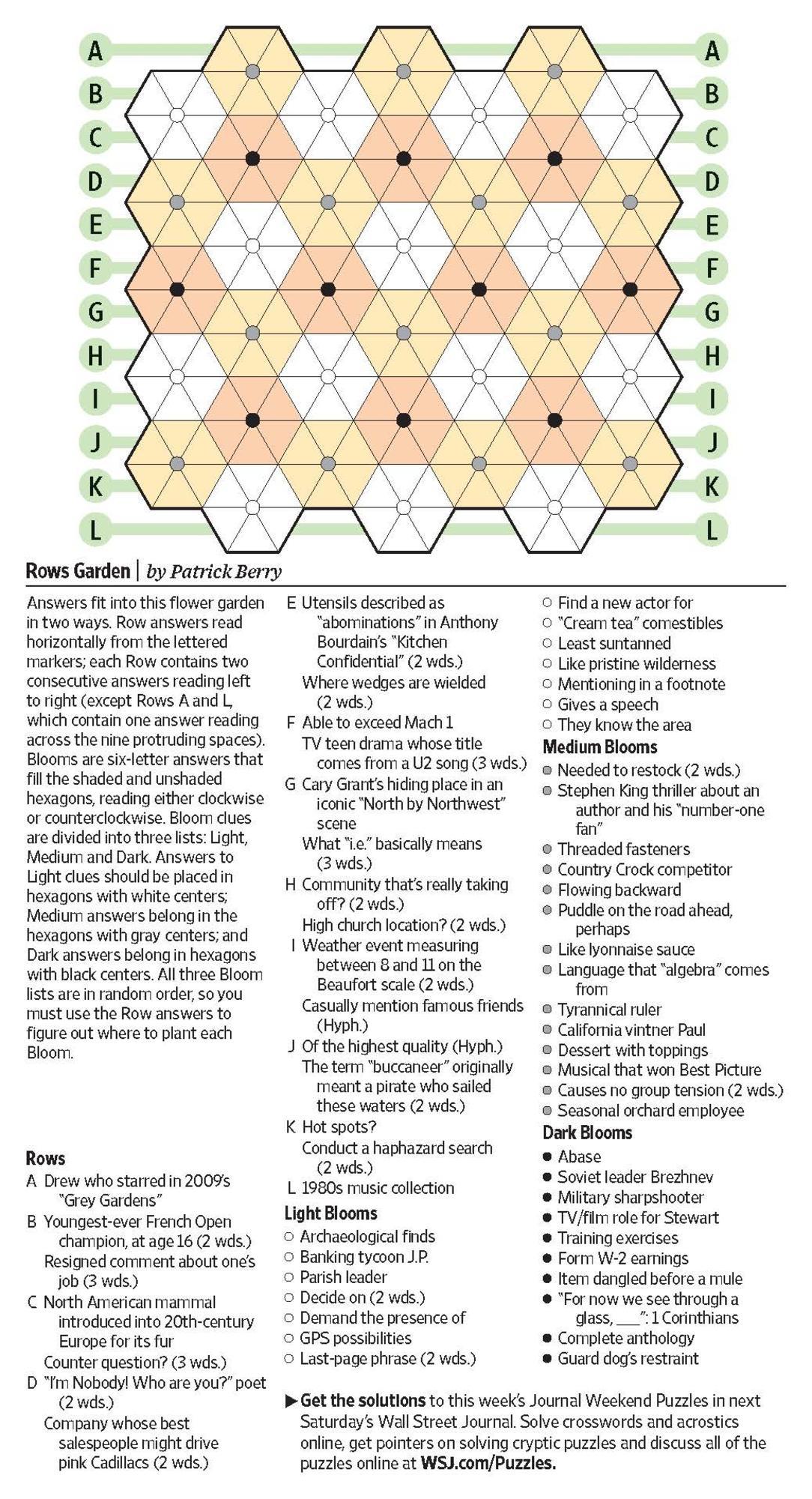 Rows Garden (Saturday Puzzle) - Wsj Puzzles - Wsj - Printable Crossword Puzzles Wsj