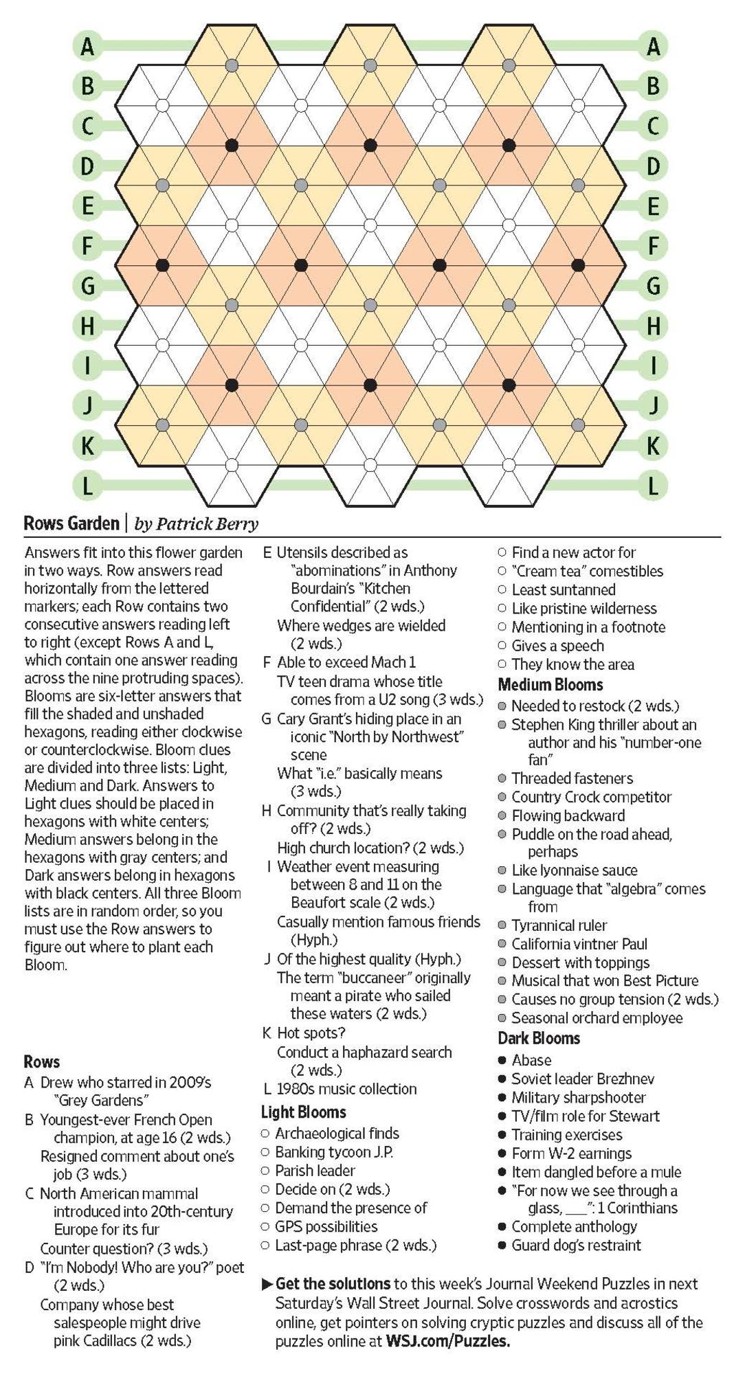 Rows Garden (Saturday Puzzle) - Wsj Puzzles - Wsj - Wall Street Journal Printable Crossword Puzzles