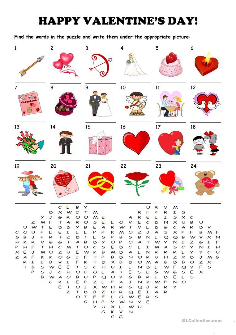 Saint Valentine's Day - Word Search Puzzle Worksheet - Free Esl - Printable Valentines Crossword