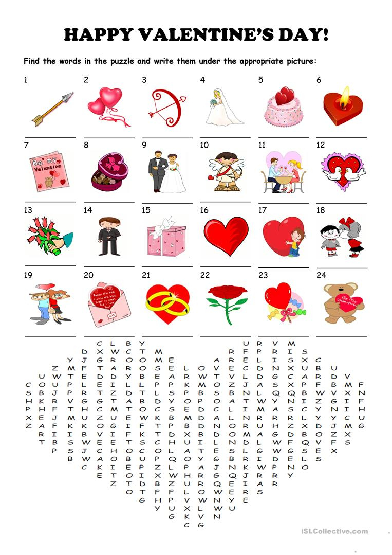 Saint Valentine's Day - Word Search Puzzle Worksheet - Free Esl - Valentine Crossword Puzzles Printable