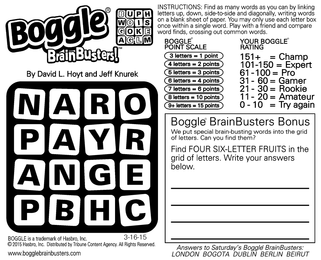 Sample Of Daily Square Boggle Brainbusters | Tribune Content Agency - Printable Boggle Puzzle