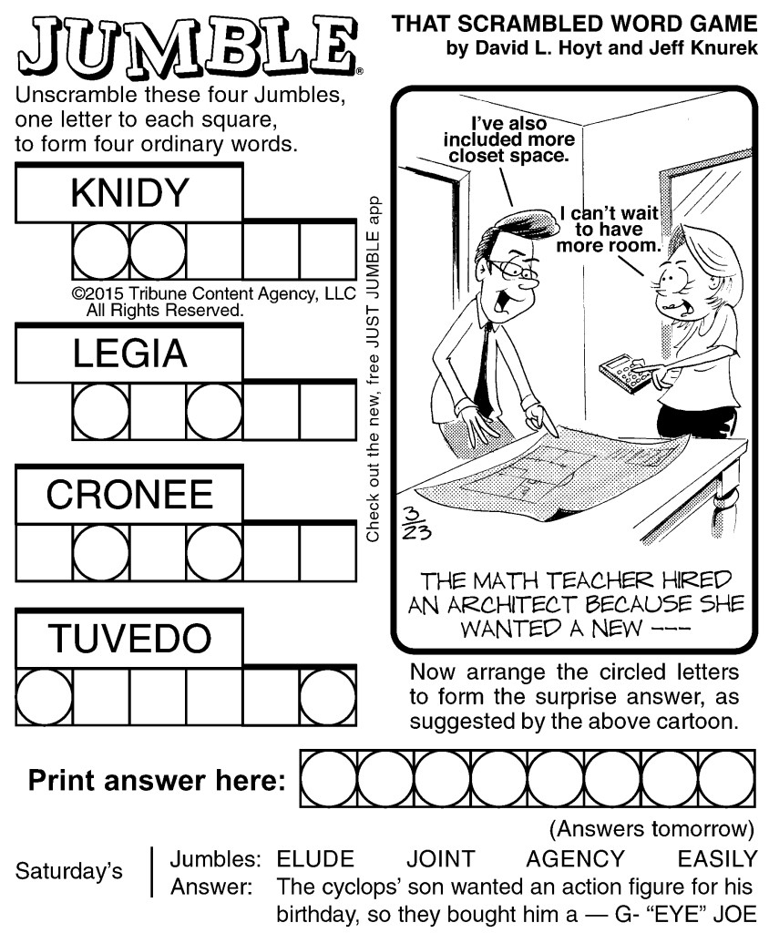 Sample Of Jumble | Tribune Content Agency (March 23, 2015) - Free - Printable Jumble Puzzles For Adults