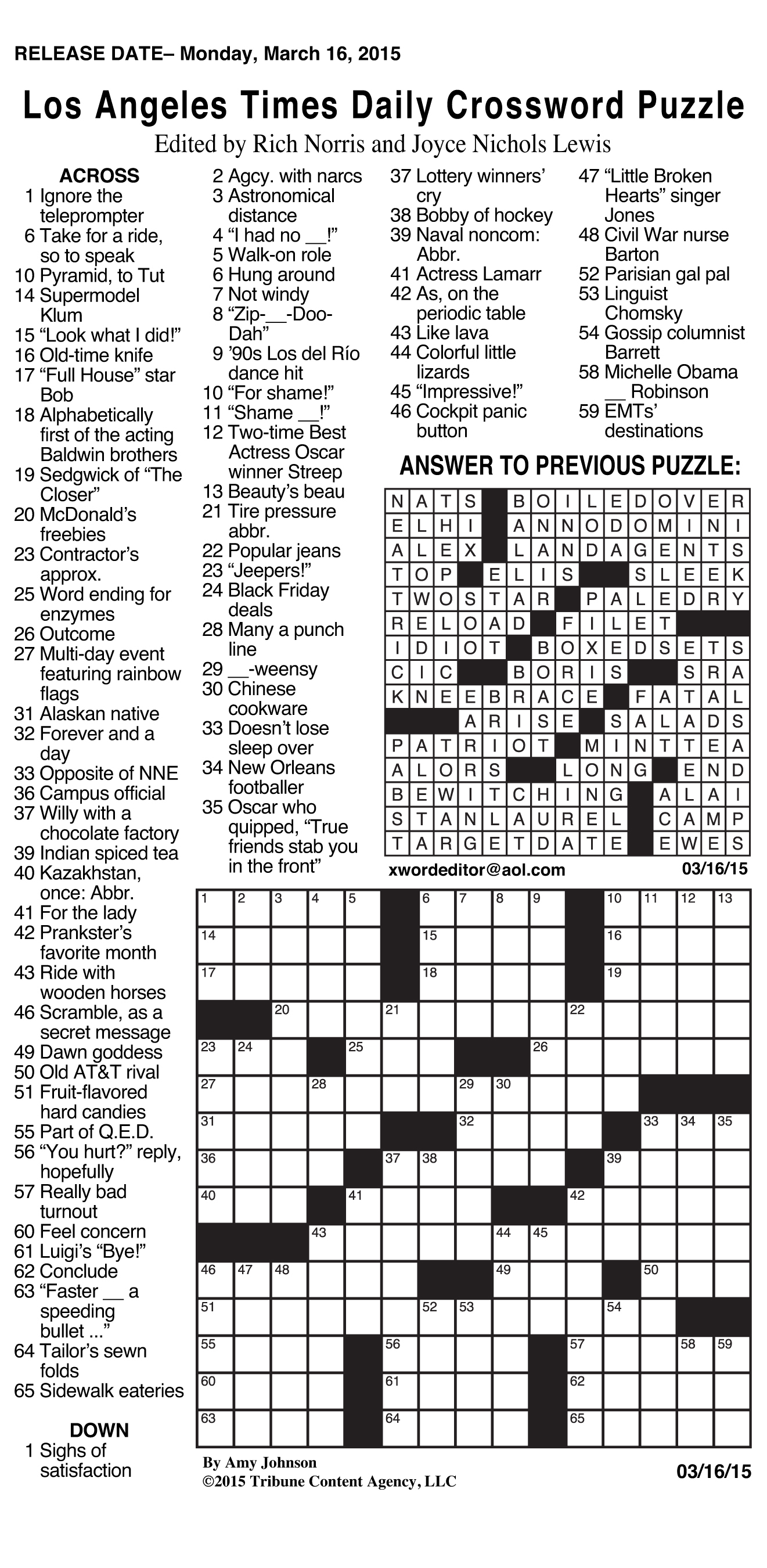 Sample Of Los Angeles Times Daily Crossword Puzzle | Tribune Content - Printable Crossword Puzzles Celebrities