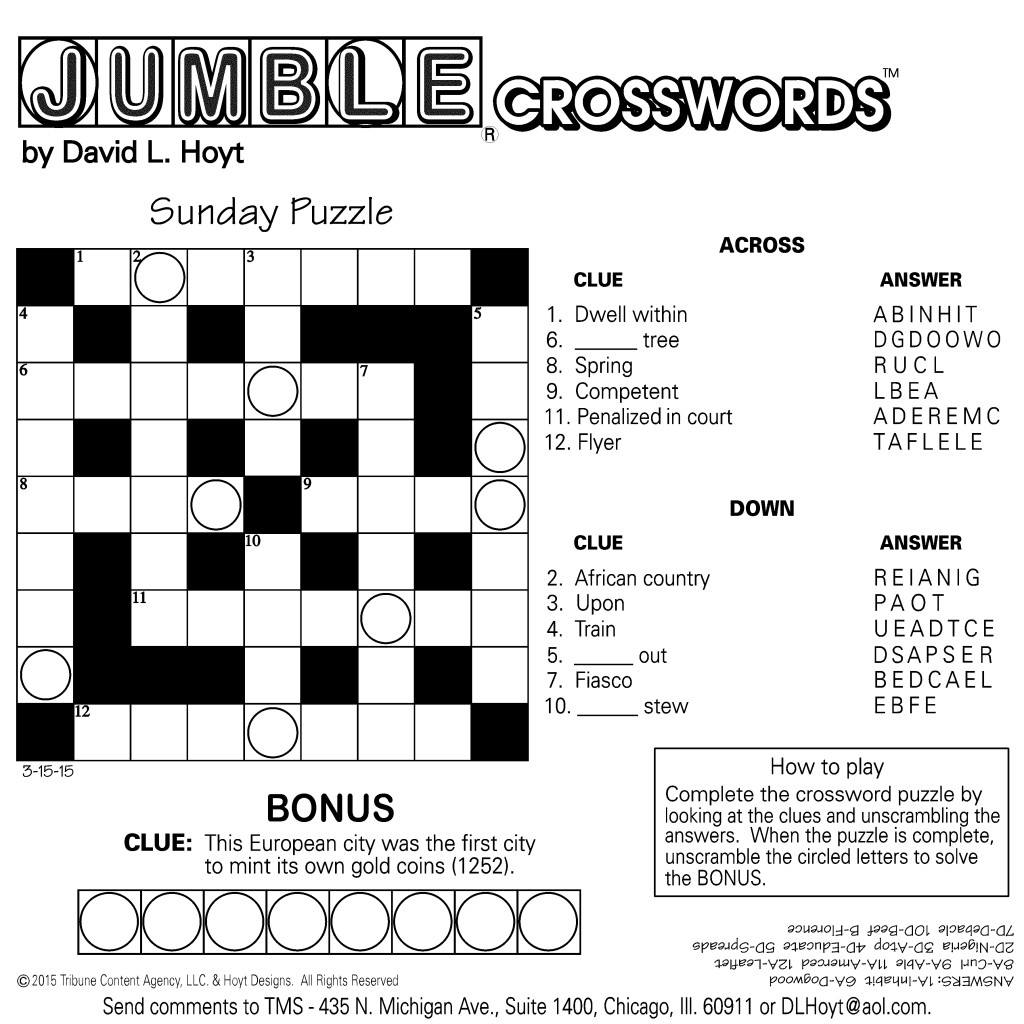Sample Of Square Sunday Jumble Crosswords | Tribune Content Agency - Printable Jumble Crossword Puzzles