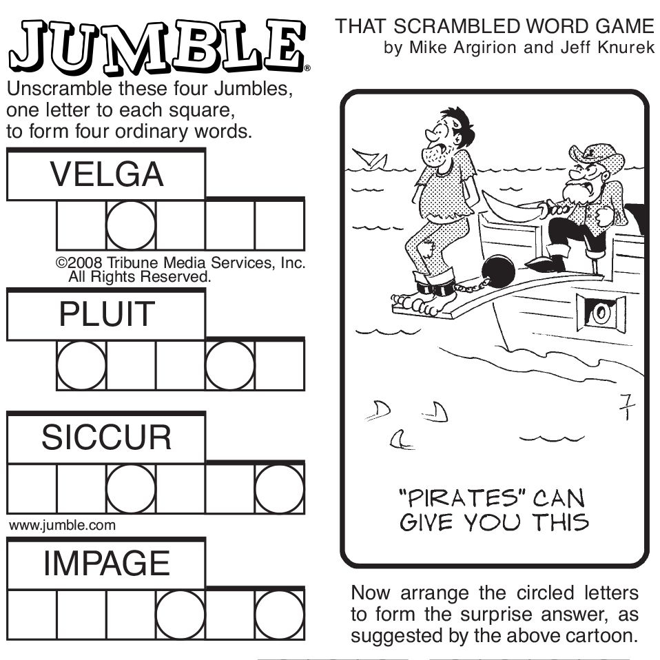 Sample Of Sunday Jumble   Tribune Content Agency   Stuff I Like - Printable Jumble Puzzles With Answers