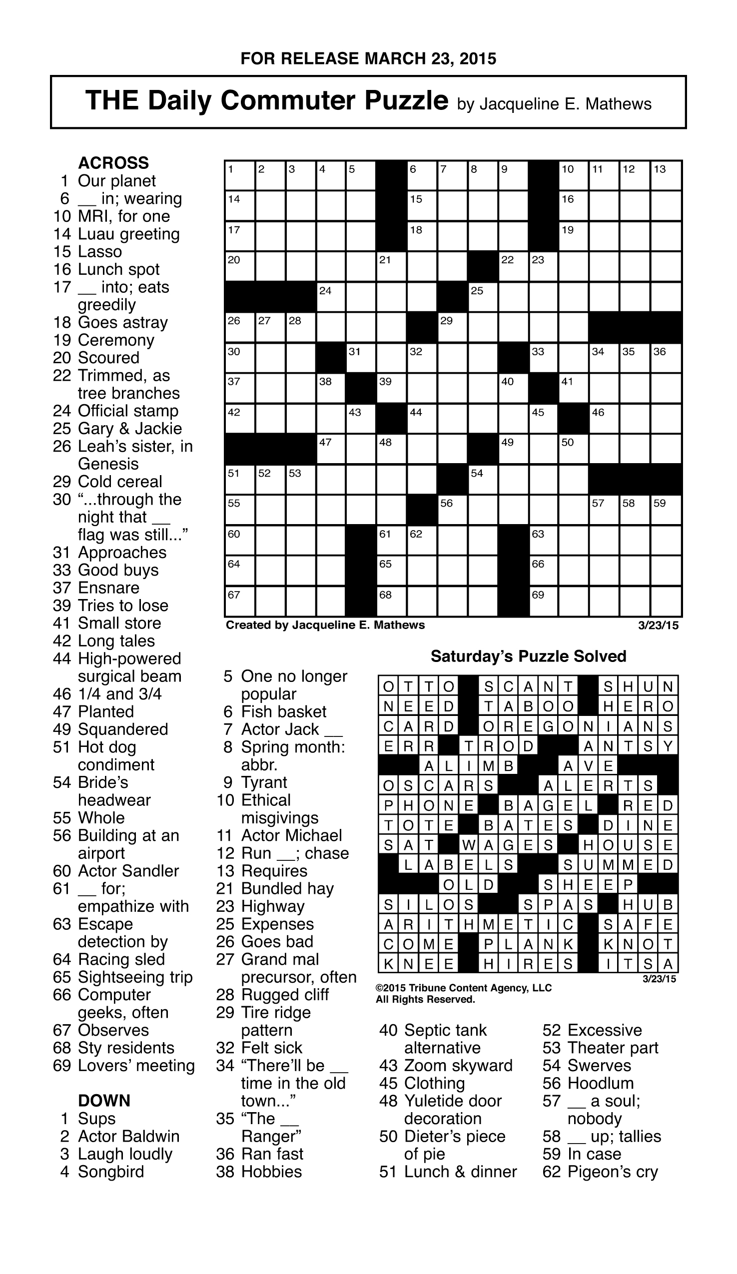 Sample Of The Daily Commuter Puzzle | Tribune Content Agency (March - Printable Crossword Puzzles By Jacqueline Mathews