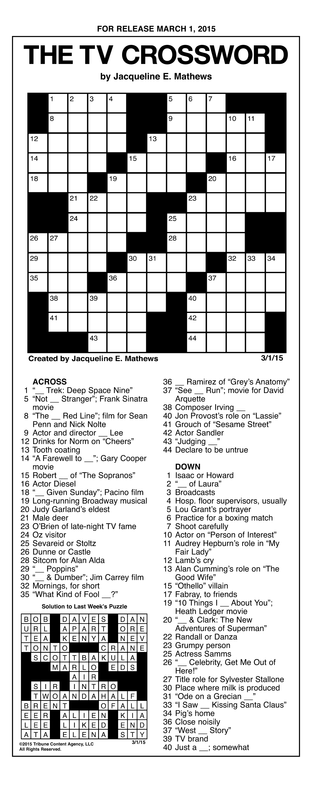 Sample Of The Tv Crossword | Tribune Content Agency (March 1, 2015) - Jacqueline E Mathews Printable Crossword Puzzles