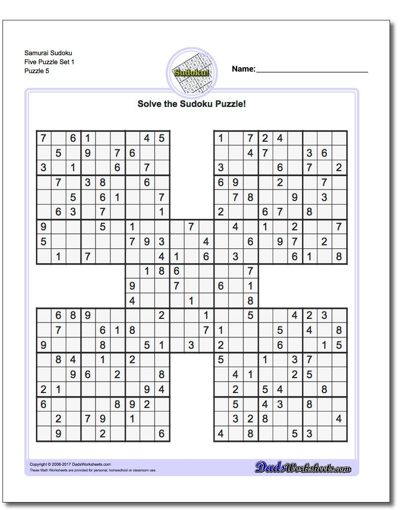 Samurai Sudoku Five Puzzle Set 1 #sudoku #worksheet | High Five - Printable Puzzle Answers