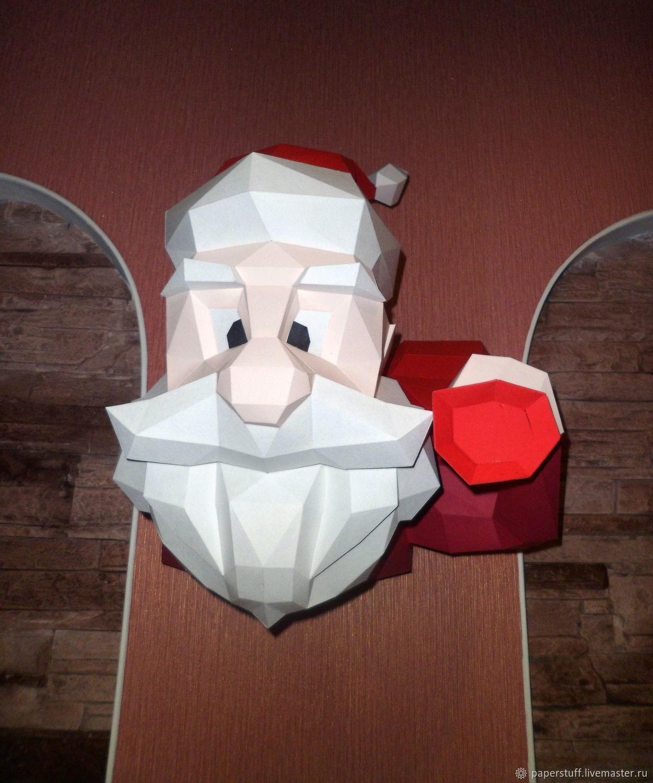 Santa Papercraft Polygon Figure 3D Paper Puzzle Trophy Santa Claus - Printable Origami Puzzle
