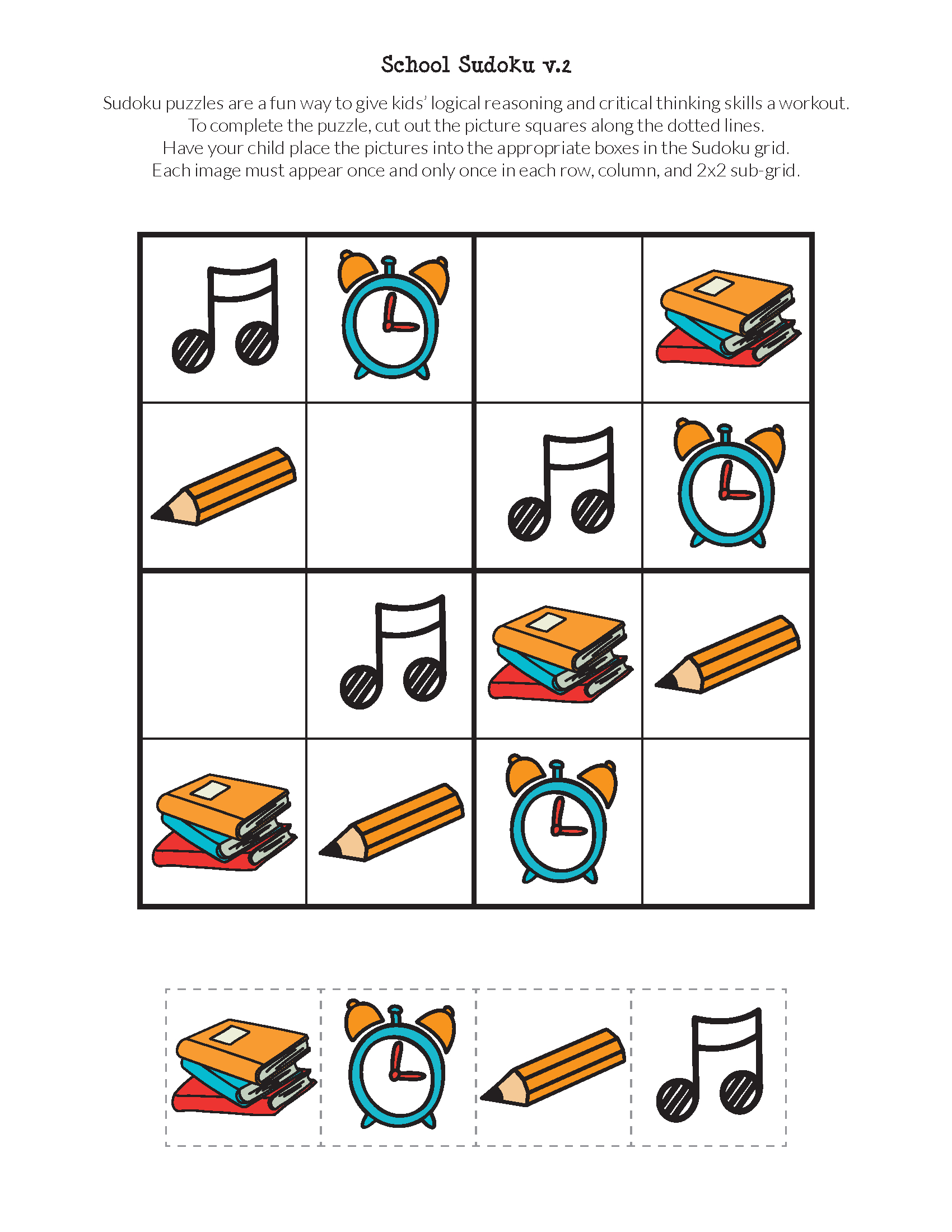 School Sudoku Puzzles {Free Printables} - Gift Of Curiosity - Printable Puzzle For Kindergarten