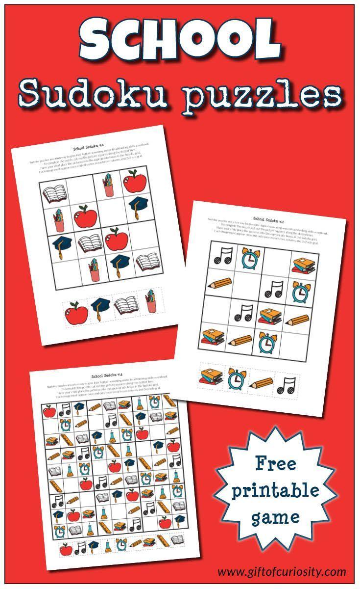 School Sudoku Puzzles {Free Printables} | Tutoring - Sudoku Puzzles - Printable Deductive Reasoning Puzzles