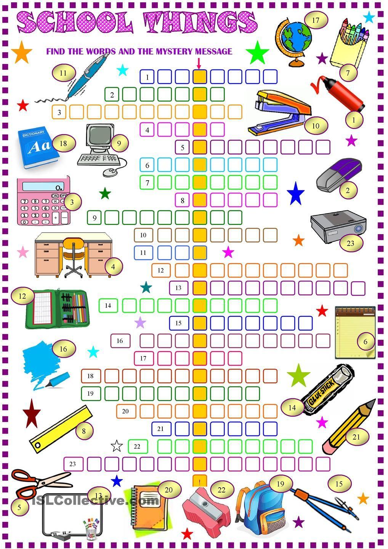 School Things: Crossword Puzzle With Key: Esl Printable Worksheet Of - Printable Crossword Puzzle For Primary School