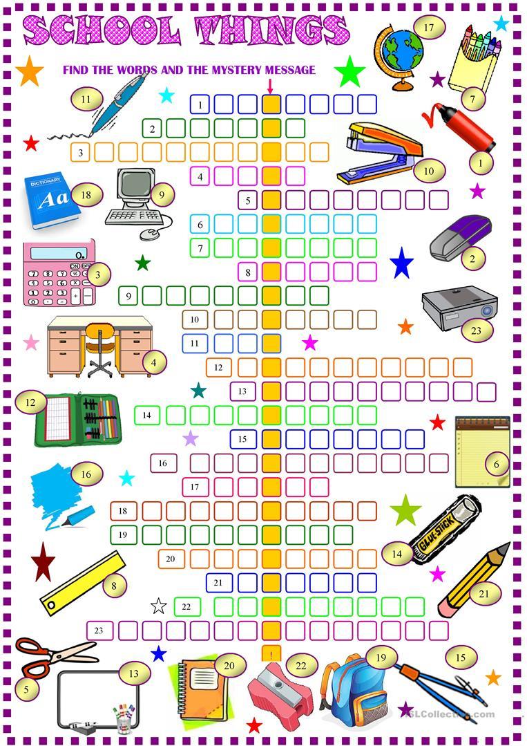 School Things : Crossword Puzzle With Key Worksheet - Free Esl - High School English Crossword Puzzles Printable