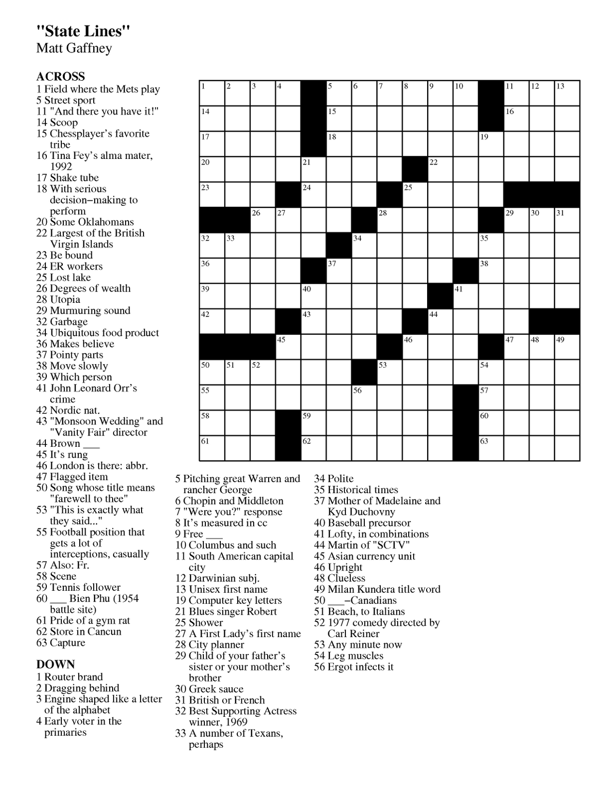September | 2011 | Matt Gaffney's Weekly Crossword Contest | Page 2 - Printable Crossword Puzzles 2011