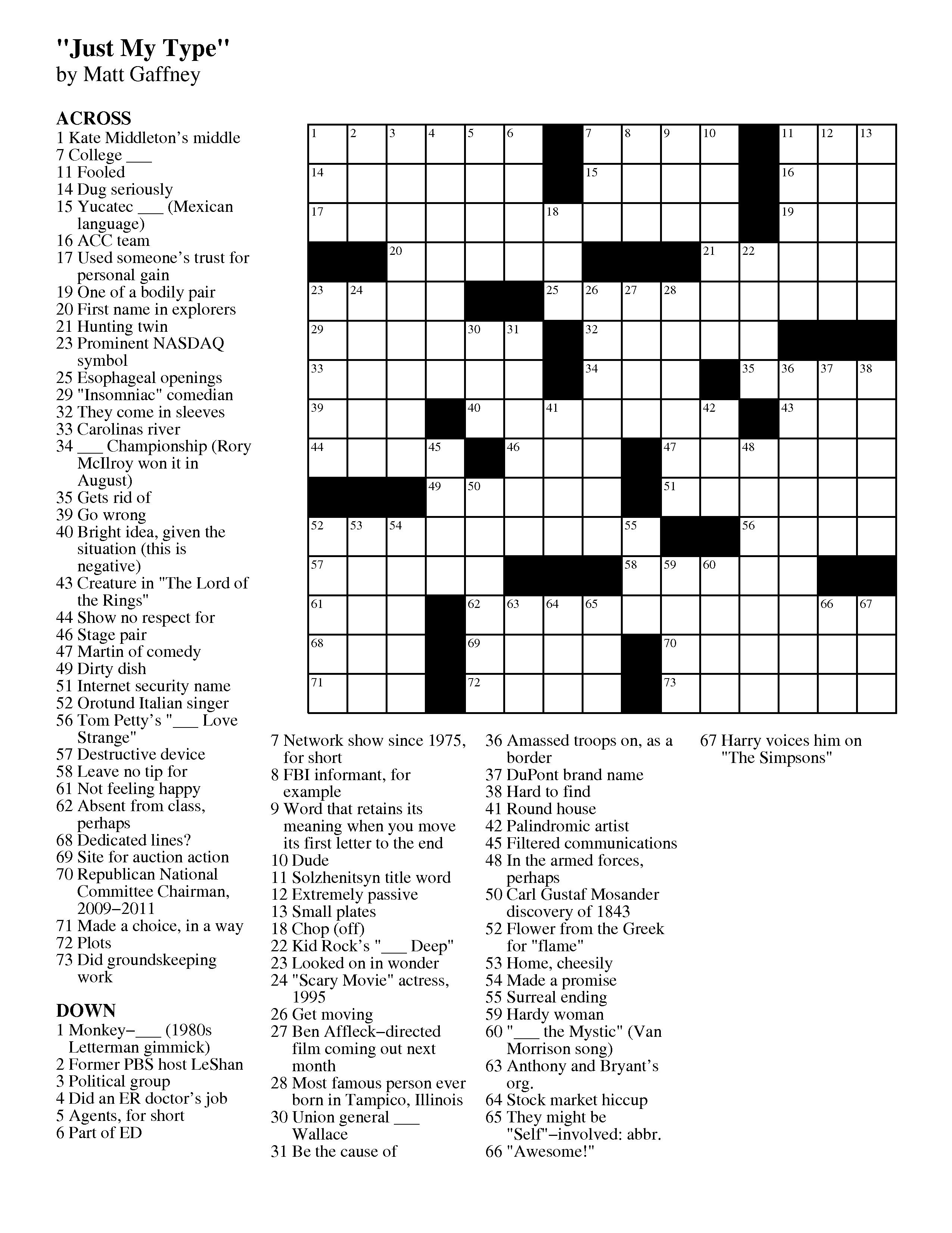 September | 2012 | Matt Gaffney's Weekly Crossword Contest - Free Printable Daily Crossword Puzzles October 2016