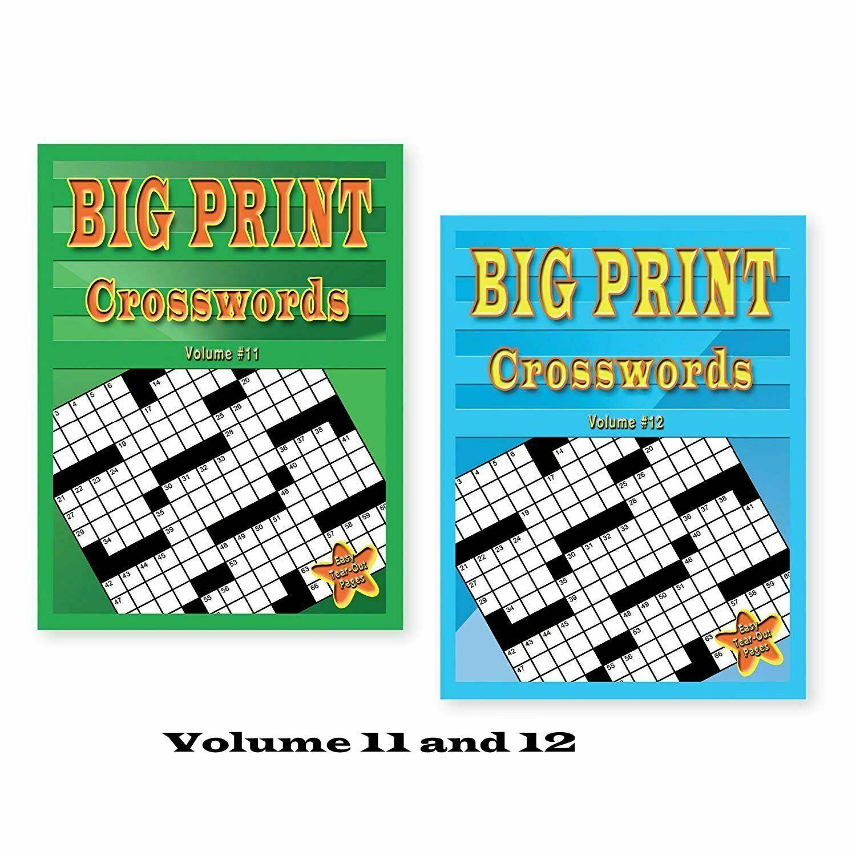 Set Of 2 Large Print Crossword Puzzle Books Soft Cover Easy To Read - Large Print Crossword Puzzle Books