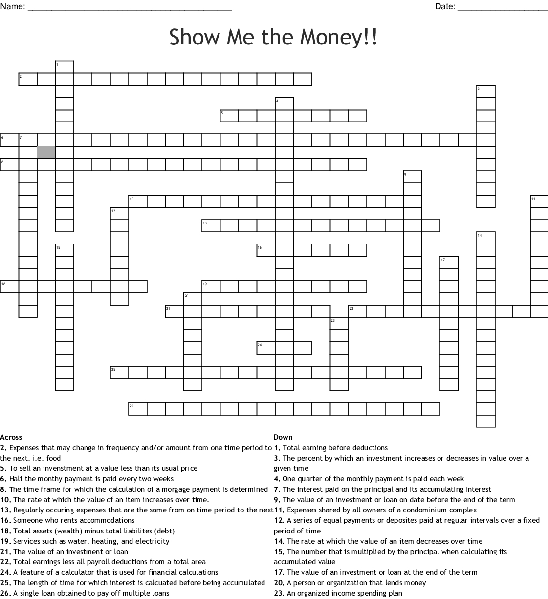 Show Me The Money!! Crossword - Wordmint - Printable Crossword Puzzle Money