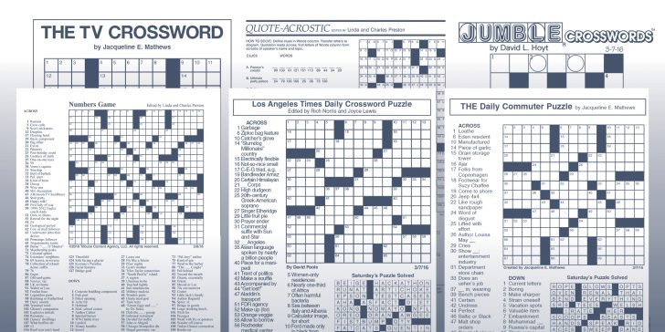 La Times Daily Crossword Puzzle Printable