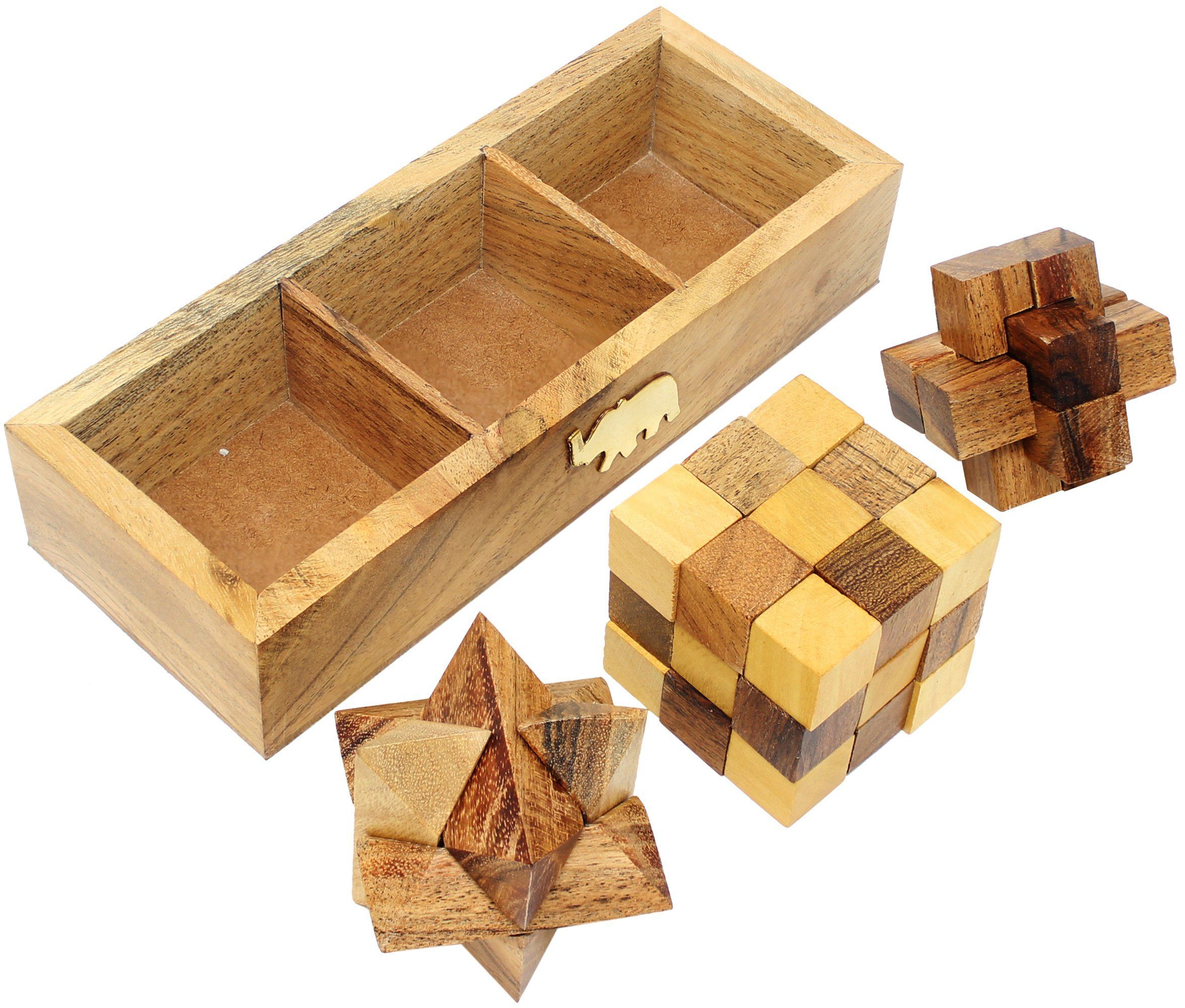 Skavij 3D Wooden Puzzle Brain Teasers Toy Set Of Snake Cube Star - Printable Burr Puzzle