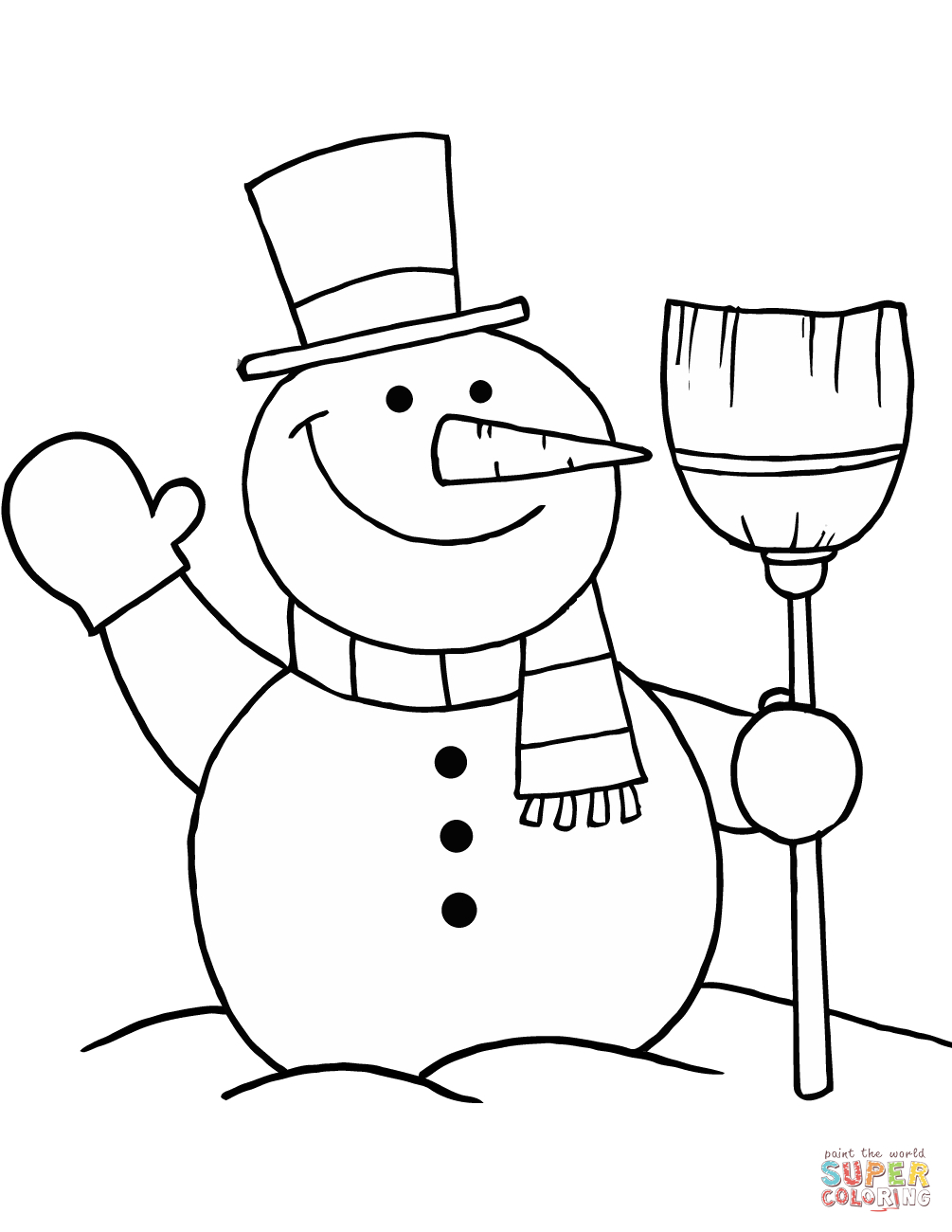 Snowman With Broom Coloring Page | Free Printable Coloring Pages - Printable Snowman Puzzle