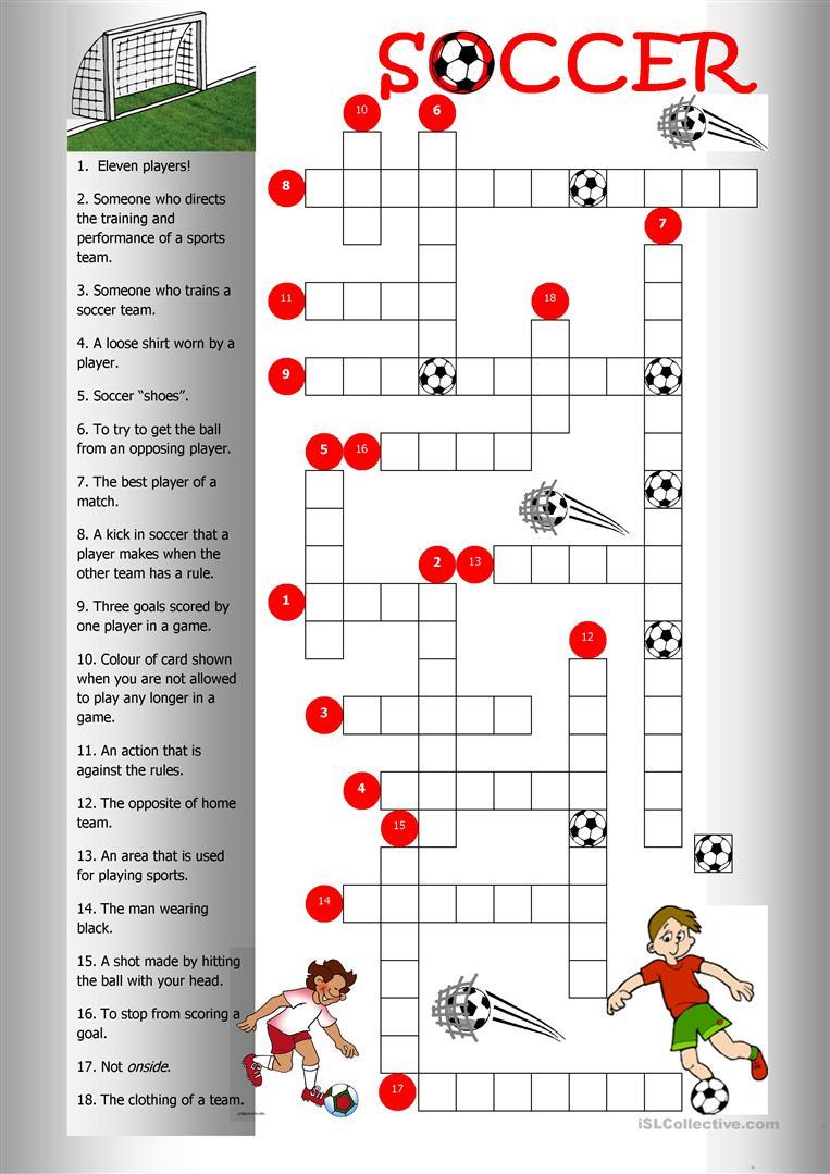Soccer Crossword Worksheet - Free Esl Printable Worksheets Made - Football Crossword Puzzle Printable