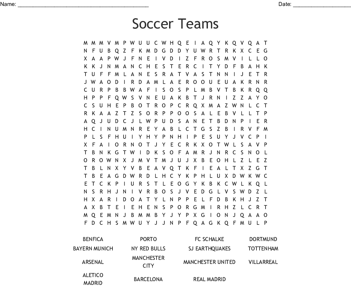 Soccer Teams Word Search - Wordmint - Printable Crossword Puzzles Soccer
