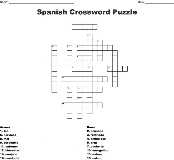Printable Spanish Crossword Puzzle Answers