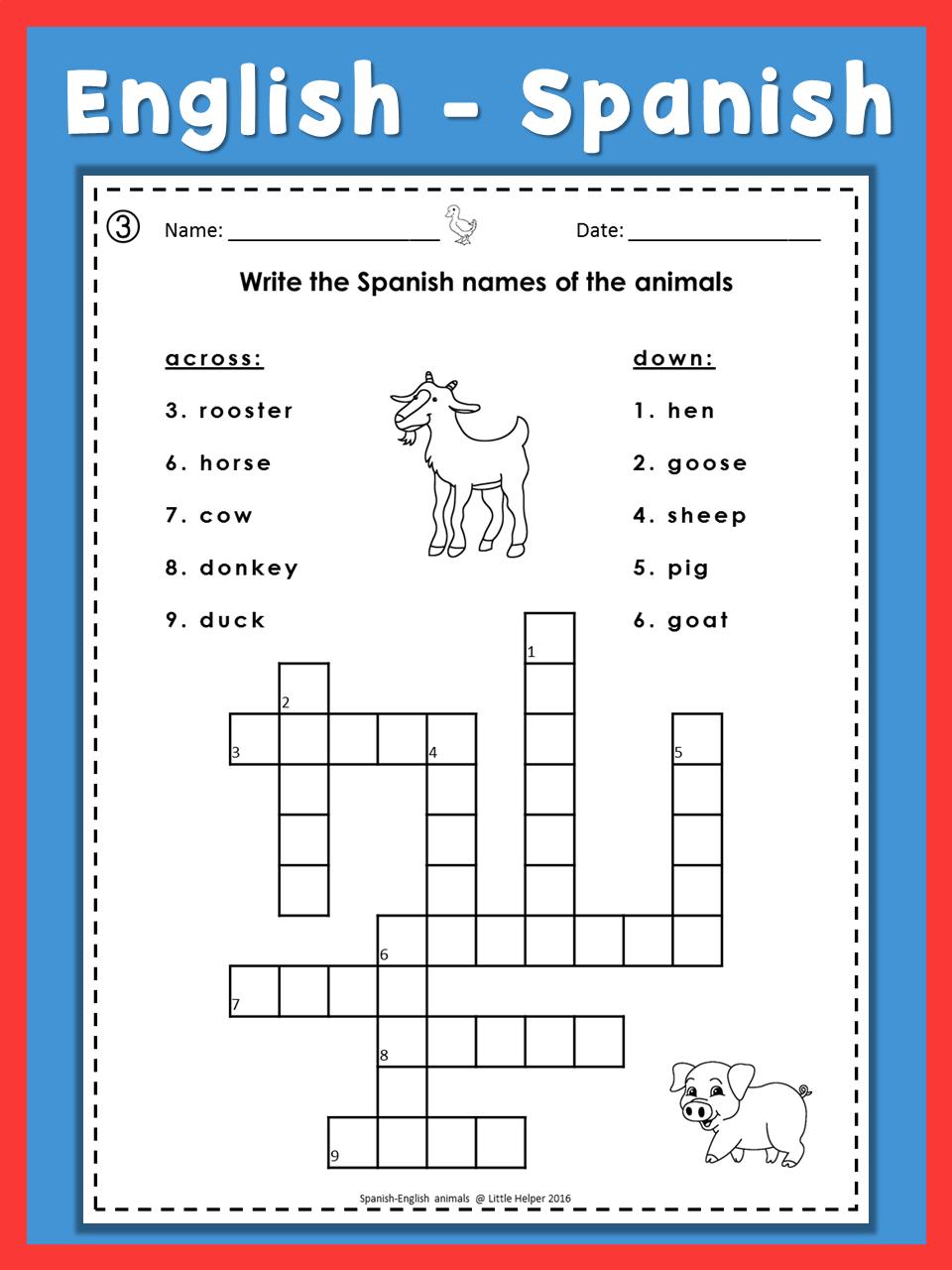 Spanish English Crossword Puzzles Los Animales | Dual Language Super - Printable Spanish Crossword Puzzle