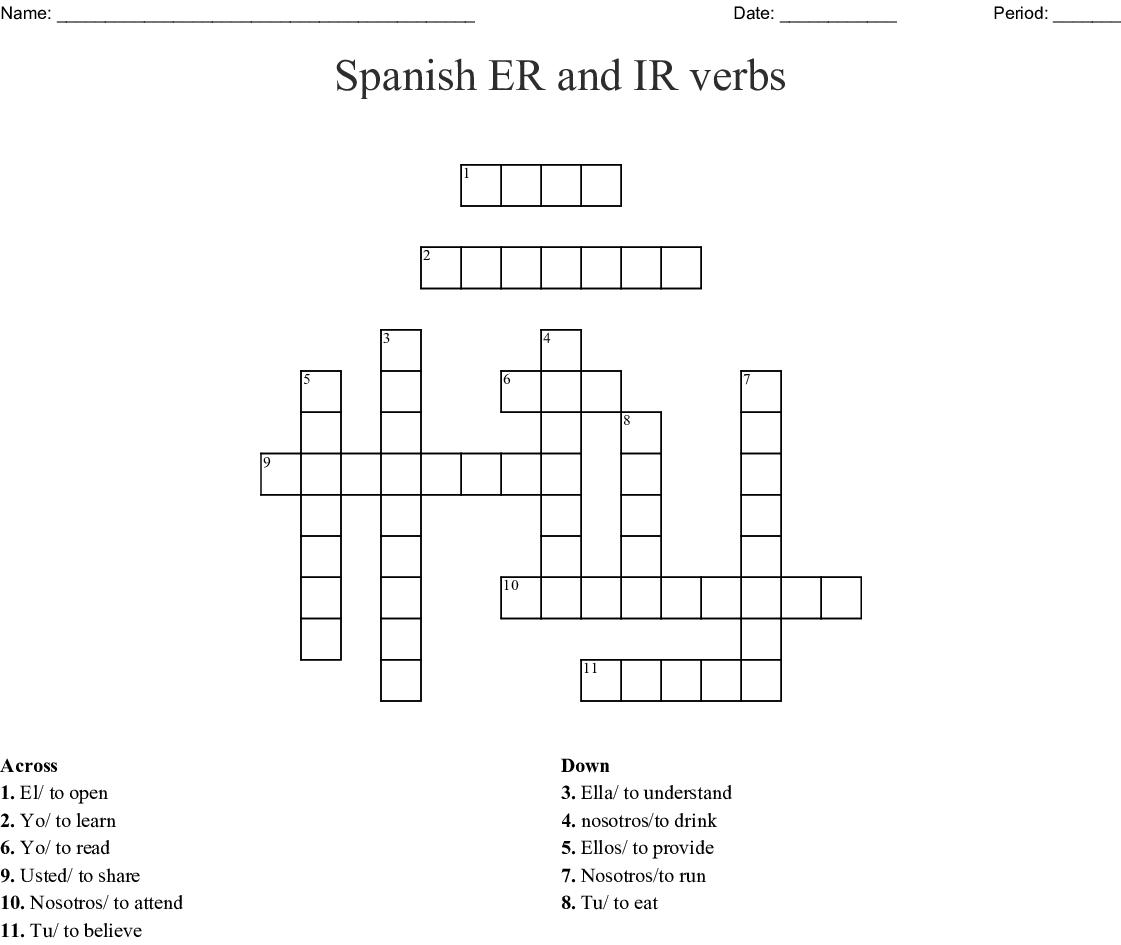 Spanish Er And Ir Verbs Crossword - Wordmint - Crossword Puzzle Printable In Spanish
