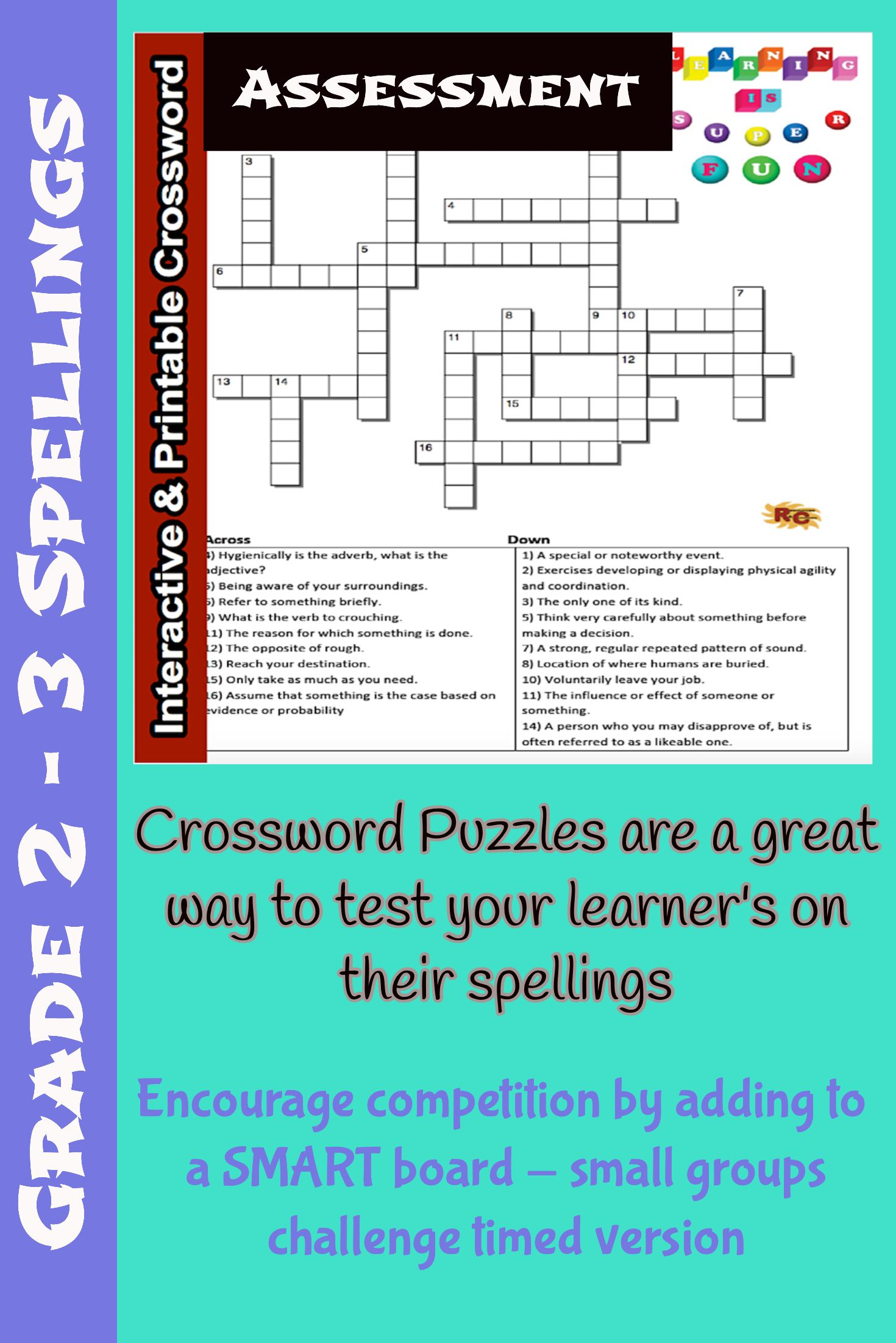 Spelling Grade 2&3 Interactive & Printable Crossword Puzzle - Printable Binary Puzzle