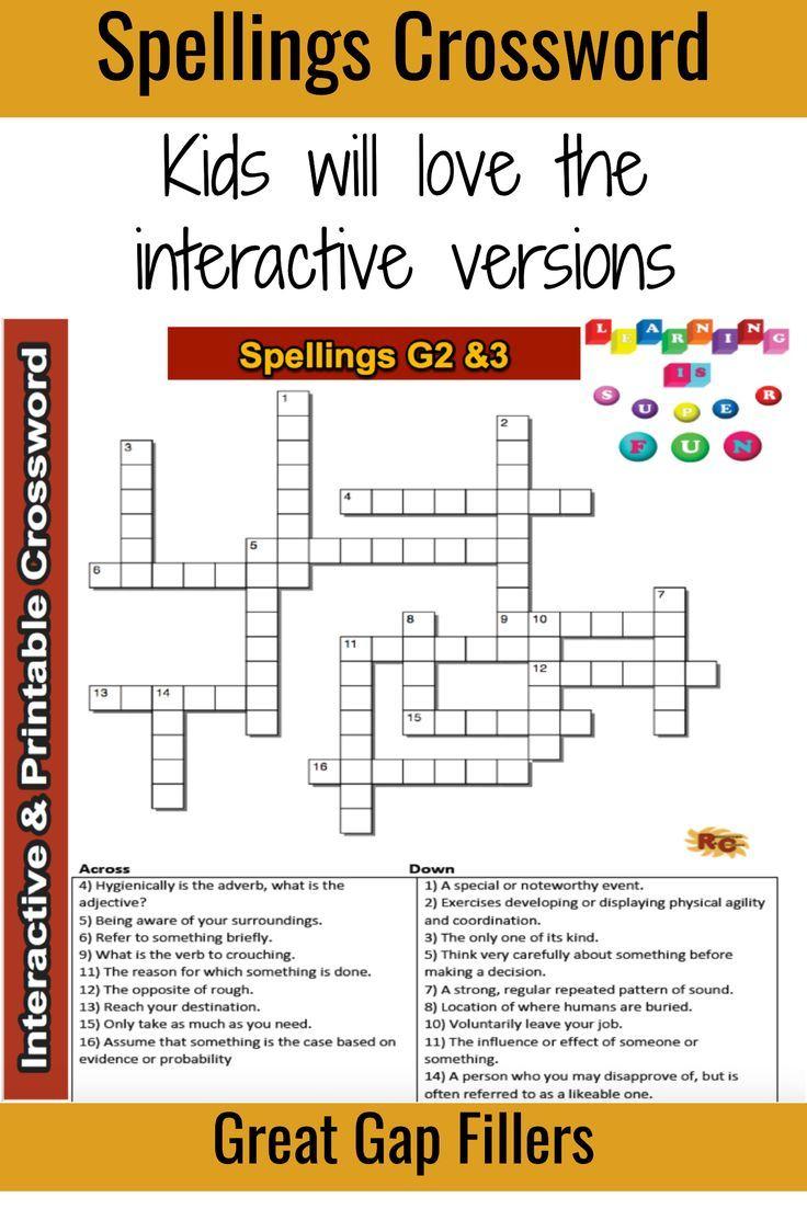 Spelling Grade 2&3 Interactive & Printable Crossword Puzzle - Printable Crossword Puzzle For Grade 2