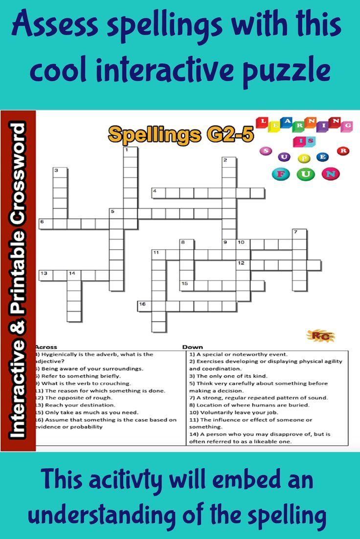 Spelling Interactive & Printable Crossword Puzzle Grade 2&3 - Printable Crossword Puzzle For Grade 5